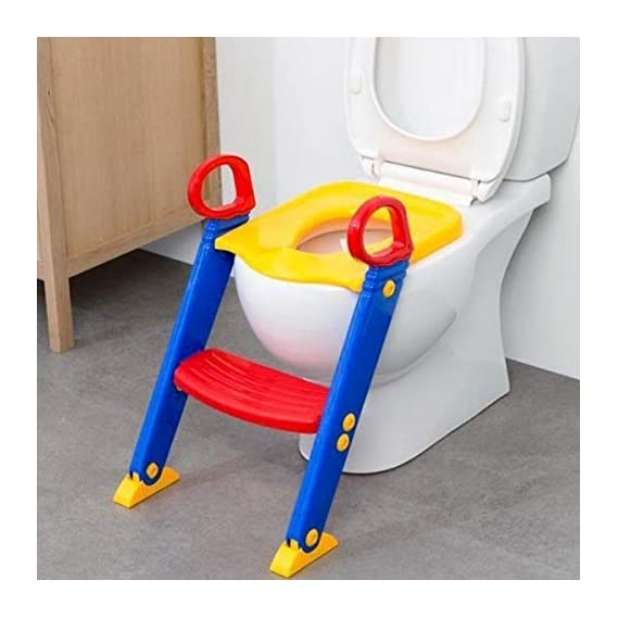 PureChem Foldable Potty-Trainer Seat for Toilet Potty Stand with Ladder Step up Training Stool with Non-Slip Steps
