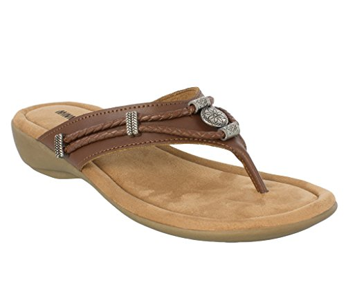 Minnetonka Women's Silverthorne Thong Whiskey Leather 10 M US M