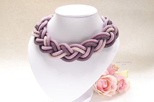 Purple crochet rope choker beaded necklace with magnet clasp