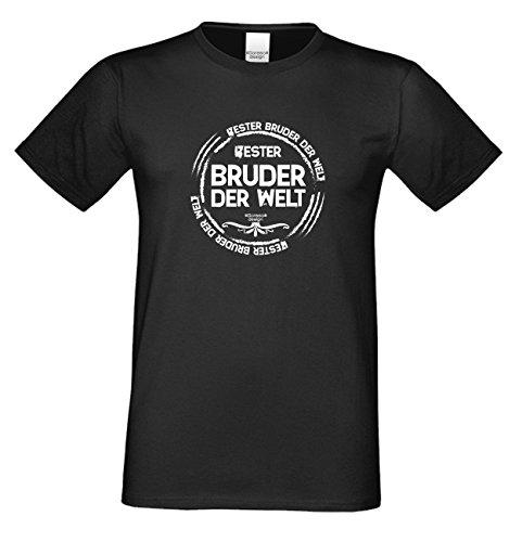 Bruder Geschenkeset Fun-T-shirt zu Weihnachten oder zum Geburtstag mit GRATIS Urkunde - Bester Bruder der Welt Farbe: schwarz Gr: L