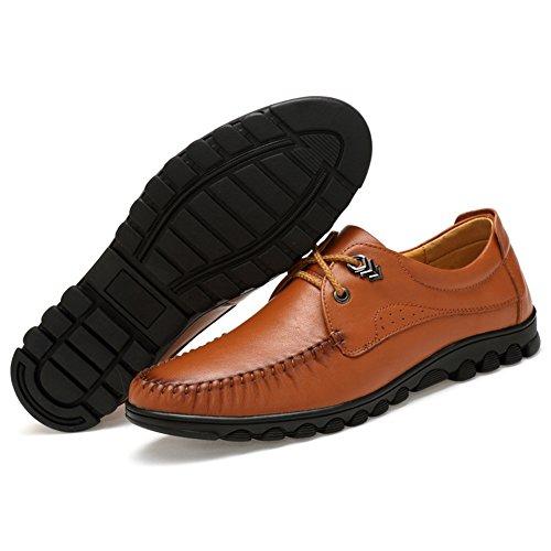 Taille Grande Studio Conduite Sk Noir Homme À Plat Chaussures Lacets Cuir De Loafers Bateau Penny Mocassins Marron v4qndR84P