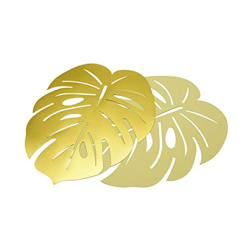 Twerp Palm Leaf Place Mats | Set of 6 | Gold Vinyl for Indoor and Outdoor Use | Easy to Clean