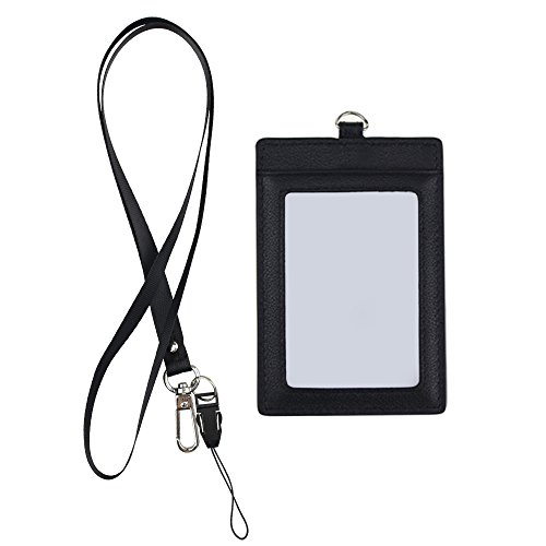 Genuine Leather Badge Holder,Black Vertical 2 Side ID Badge Holder,ID Card Case Credit Card Holder with 1 ID Window and 2 Card Slot and 1 piece 17