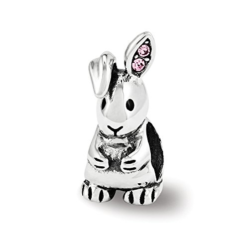 Bunny Bead Charm in Antiqued Sterling Silver with Swarovski - Bunny Antiqued