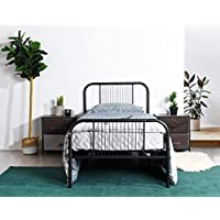Black Metal Platform Bed Frame Twin Size, Headboards and Footboard with 6 Legs - Need Mattress only, No Box Spring