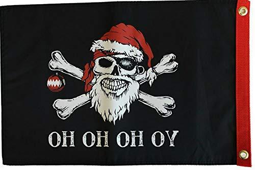 Hebel 12x18 Yo Ho Ho Pirate Santa Claus Christmas Flag Double Sided Flag New | Model FLG - 1764