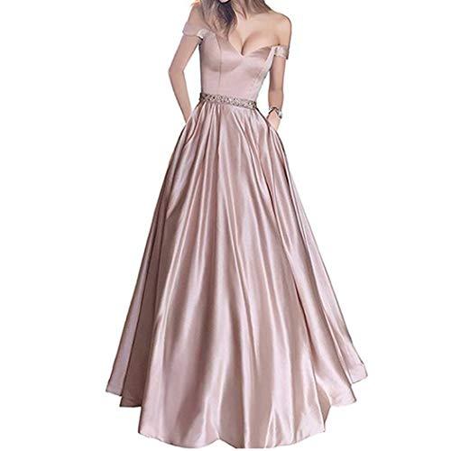 XFASY Womens Off The Shoulder Dress Beaded Satin Short Sleeve Long Dress Off Shoulder Cocktail Prom Dress (Rouge Pink,M)
