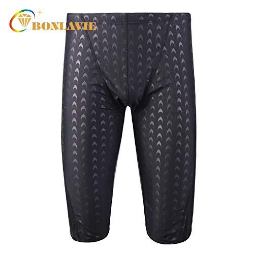 96817db946 BONLAVIE INF Men Swimwear Black Shark Skin Men's Swimming Trunks Quick Dry  Plus Size Sunga Mens Swimming Shorts Adjustable Waist Gay Swimwear:  Amazon.in: ...