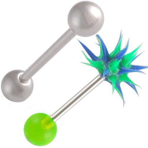 bodyjewellery 14g 14 Gauge 1.6mm 19mm Tongue Bars Nipple Barbell Ear Rings 6mm Steel Koosh Ball Green Acrylic AVOK 2Pcs