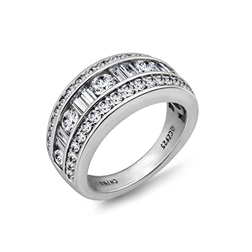 Diamonbliss Platinum Plated Sterling Silver 1.80cttw Cubic Zirconia Baguette & Round Band Ring Size-10 Channel Set Baguette Engagement Ring