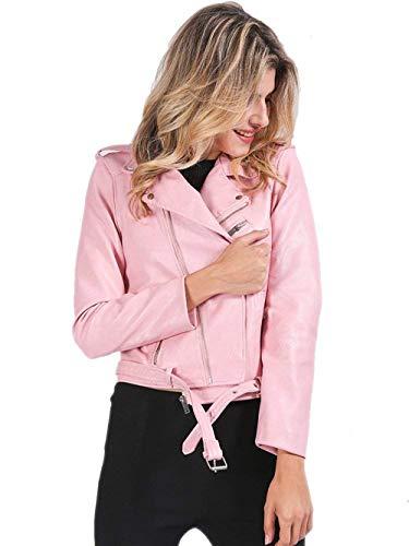 Pelle Corto Lunga Tasche Inclusa Autunno Cerniera Accogliente Invernali Giacca Elegante Cappotto Marca Pink Donna Monocromo Con Di Laterali Mode Similpelle Manica Cintura In 5vwZZRSqx
