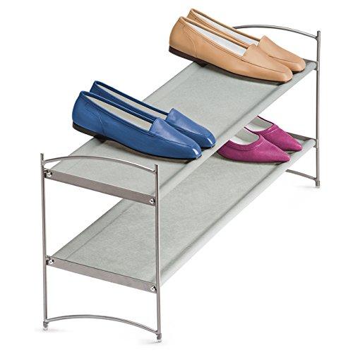 Lynk Vela Stackable Shoe Shelves 2 Tier - Shoe Rack Shelf - Platinum ()