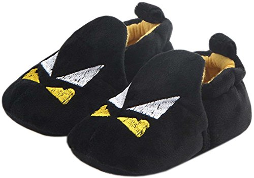 bettyhome Winter Plush Unisex Baby Newborn Hallowmas Black Batman Pattern Soft Sole Infant Toddler Prewalker Sneakers (0-1 Year) (Insole Length:110mm, Black)