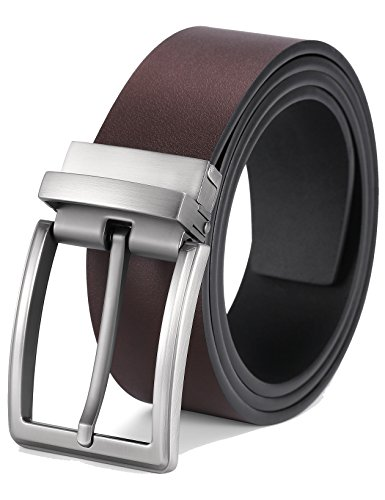 Alice & Elmer Men's 1 1/2'' Reversible Dress/Casual Leather Belts For Men (Waist 34''(110CM), Black/Brown/40-0494-02)