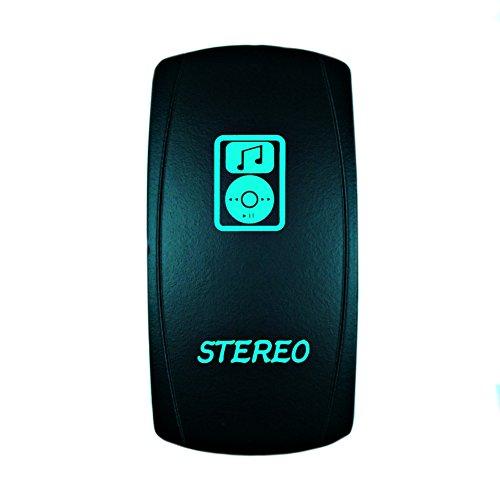 STV Motorsports Laser Green Rocker Switch STEREO 20A 12V ON/OFF LED Lighted for Car Truck Boat ATV UTV