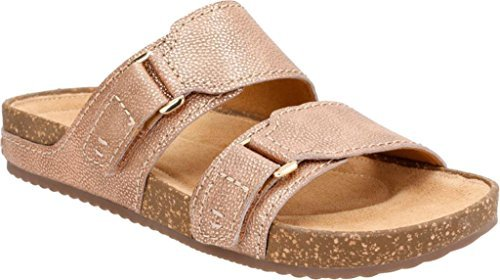 CLARKS Women's Rosilla Tilton Dusty Pink Metallic Leather Sandal