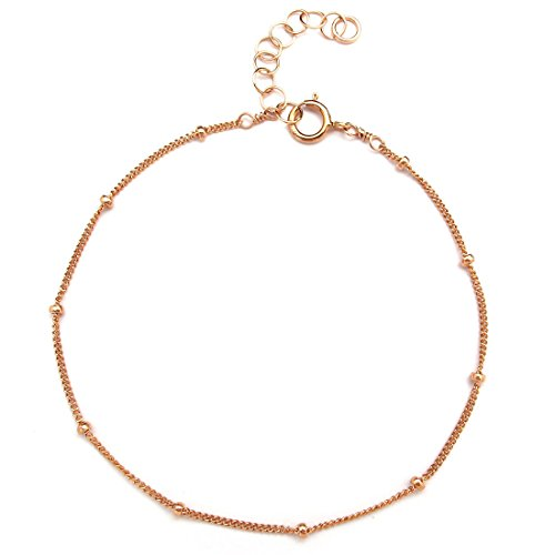 Green Rose Gold Bracelet (Dainty Bracelet for Women Girls, 14K Gold Filled, Adjustable Chain, Gifts for Mom Friend Sister, Made in USA, Rose/Gold, 6.5