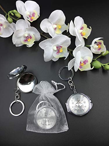 (12) New Quinceañera Recuerdos. My Sweet 15 Princess Celebration Gifts Silver Plate Mirror Keychain Party Favor Set With Organza Bags]()