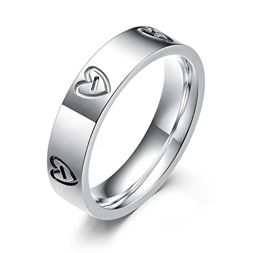 LULUCICI Love Ring Titanium Stainless Steel Wedding Band Ring Silver You are The Only One in My Heart (White, 10)