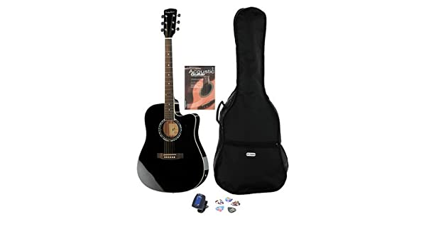Set Guitarra Acústica Amplificada Harley Benton hbd120cebk: Amazon.es: Instrumentos musicales