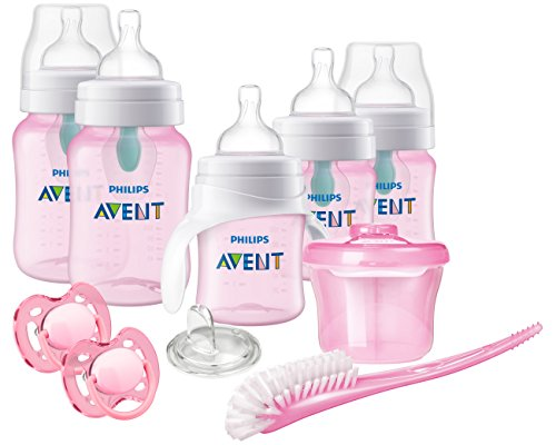 Philips Avent Anti-Colic Baby Bottle with AirFree Vent Beginner Gift Set Pink, SCD393/04 ()