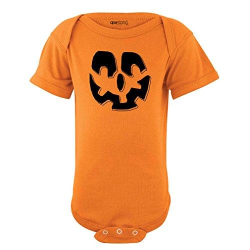 [Cute Unisex Baby Orange Jack O' Lantern Bodysuit Pumpkin Easy Halloween Costume (18 Months,] (Halloween Costums For Kids)
