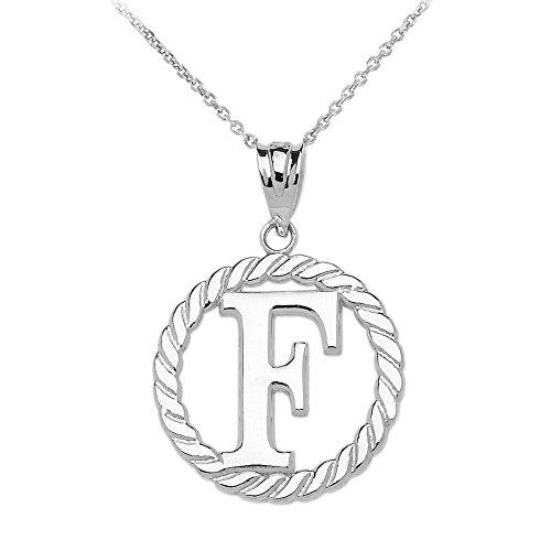 """Collier Femme Pendentif 10 Ct Or Blanc """"F"""" Initiale À Corde Cercle (Livré avec une 45cm Chaîne)"""