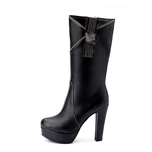 AgooLar Toe Solid PU Black Zipper Boots Round Closed High Heels Women's Y0qnr1aY