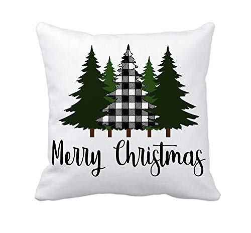 4TH Emotion Christmas Saying Merry Christmas Throw Pillow Cover Black White Buffalo Check Tree Cushion Case for Sofa Couch 18x18 Inches Cotton Polyester