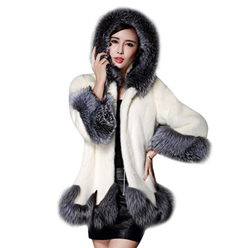 GOVOW Fox Fur Coat for Women Long Sleeve Parka Outerwear Faux Fur(US:12/CN:XXL,White)