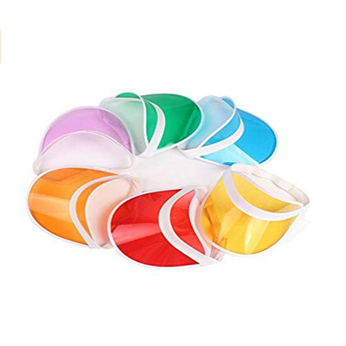 6 Pack Multicolor Plastic Transparent Sun Visor Clear Golf Visor Hat UV Protection Hat Cap Candy Color for Outdoor]()