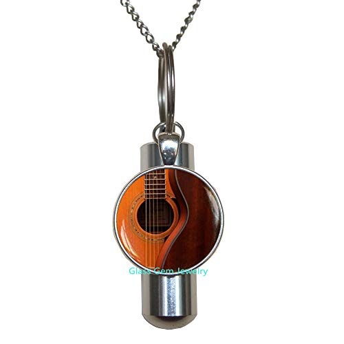 Guitar Cremation URN Necklace,Acoustic Guitar Art URN,Guitar Jewelry,Music Cremation URN Necklace,Music Art URN,Guitar Player Gift,Gift for Musician,Q0122
