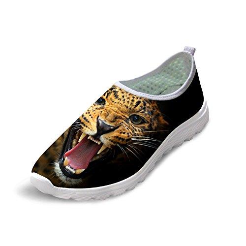 FOR U DESIGNS Yellow Leopard Print Women's Light Weight Slip On Comfort Running Shoes US 11