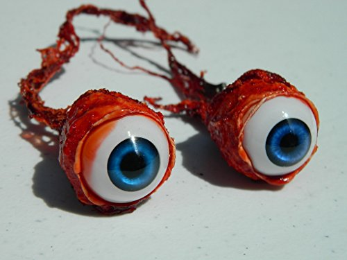 Pair of Realistic Life size Bloody Ripped Out Eyeballs - Halloween props - FE02