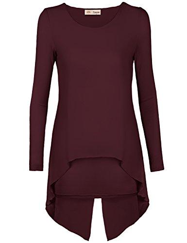 Timeson Ladies Long Sleeve Layered Irregular Hem Faux Twinset Design Chiffon Blouse (Layered Chiffon)
