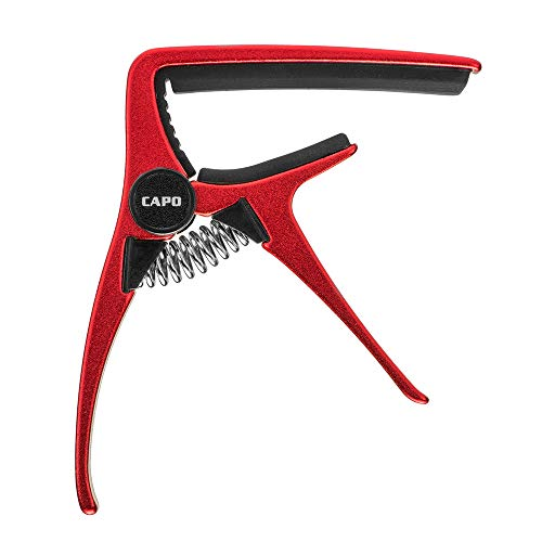 Guitar capo for Acoustic and Electric Guitar with 6 String Made of High-grade Lightweight Zinc alloy Material(Red Capo)