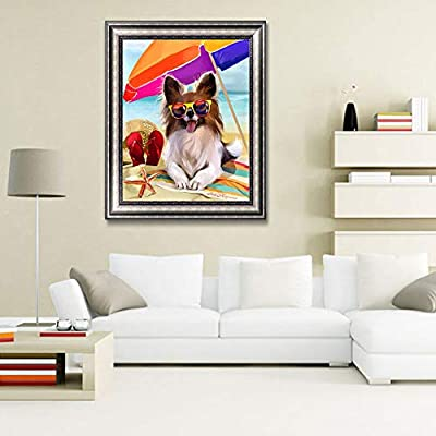 Full Drill DIY Diamond Art Cross Stitch Paint by Numbers Dog WOWDECOR 5D Diamond Painting Kits Colorful Dog Puppy Animals