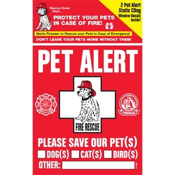 PET SAFETY ALERT 234001 2-Count Static Cling Window Decal for - Sticker Decal Vinyl Dog