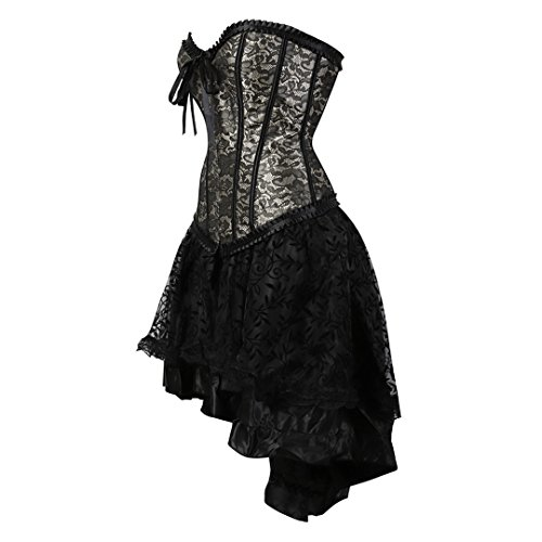 Kranchungel Damen Gothic Corsage Kleid Rock Petticoat Tutu Streifen ...