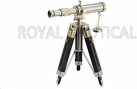 Royal Nautical Chrome Finished Telescope Spyglass With Wooden Tripod Stand Home Decor Gift