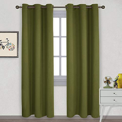 NICETOWN Thermal Insulated Solid Grommet Blackout Curtains/Drape for Livingroom (1 Pair,42 by 84-Inch,Olive Green)
