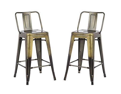 Brass Outdoor Chair - Christies Home Living Low Back Indoor and Outdoor Metal Chair Barstool, Brass Gold, Set of 2