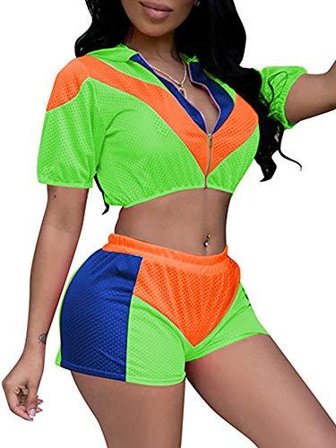 (Ramoug Women Eyelet Mesh Reversible Jersey Hoodie Elastic High Waist Short Pants Outfit Plus Size XXL Green)