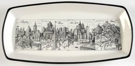 "Vintage Brunelli 12 1/2"" Cities London Paris New York Roma Pattern Rectangular Bread Tray"
