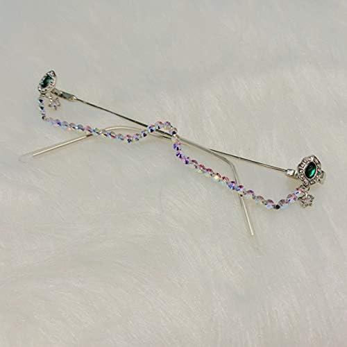 TYJVSXGGafas de sol para mujer Marco de aleación Verde y rojo Piedra preciosa Sin marco Colgante Colgante Medio marco Gafas de diamante de lujo