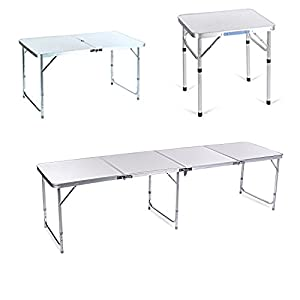 Anfan 2FT 4FT Ultralight Aluminum Portable Folding Utility Table with Carrying Handle for Hiking/Picnic/Garden/Beach/Camping/Functions/BBQ,Silver(US Stock)