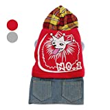Naughty Wolf Hoodie Coat with Denim Skirt for Dogs (XS-XL) Red Produced by Generic