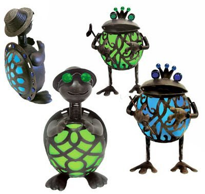 Garden Meadow Solar Gem Turtles/Frogs Set of 2 (Solar Unit 2 Frogs)