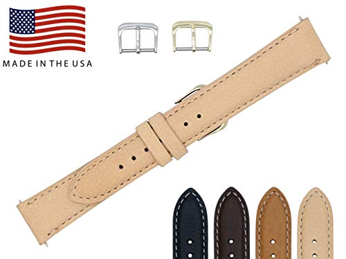 16mm Nude Soft Genuine Leather Watch Strap Band – American Factory Direct - Gold & Silver Buckles Included – Made in USA by Real Leather Creations PAD CS FBA121 (Beige Leather Strap Watch)