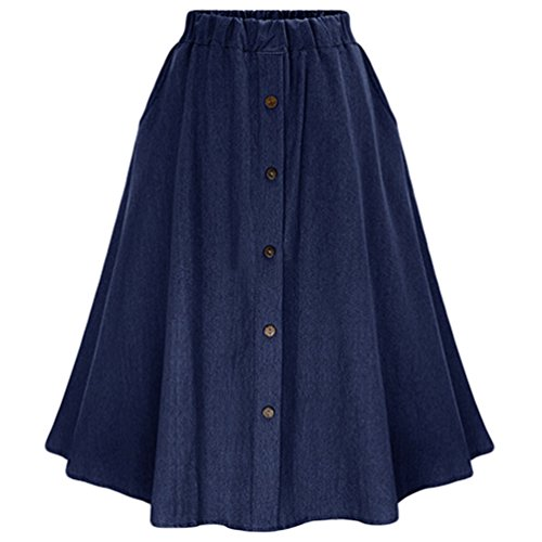 Donne Scuro di Alta Vita Blu Gonne Pieghe Jeans Jeans Gonna Bottone A Frontale Eleganti Con Heheja aZSdxwqIna
